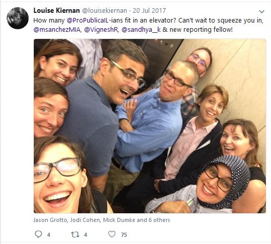 Louise Kiernan with ProPublica Chicago employees in elevator
