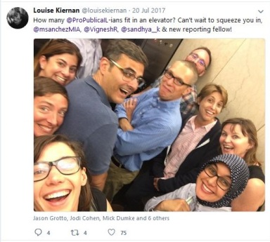Louise Kiernan with ProPublica Chicago employees in elevator